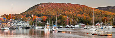 Camden Harbor Autumn Panorama Poster