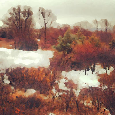 Poster featuring the digital art Came An Early Snow by Shelli Fitzpatrick