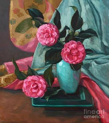 Camellias And Kimono Poster