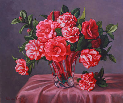 Camellias In Glass Vase Poster by Fiona Craig