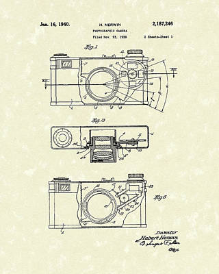 Camera 1940 Patent Art Poster by Prior Art Design