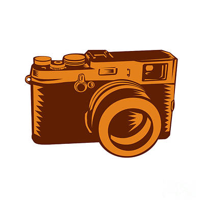 Camera 35mm Vintage Woodcut Poster