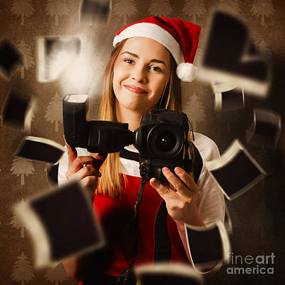 Camera Holding Santa Helper Taking Christmas Photo Poster