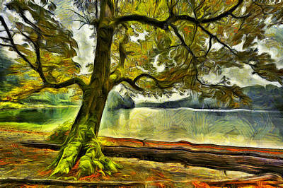 Cameron Lake Tree In Autumn Poster by Mark Kiver