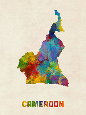 Poster featuring the digital art Cameroon Watercolor Map by Michael Tompsett