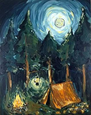Poster featuring the painting Camp At Night by Maria Langgle