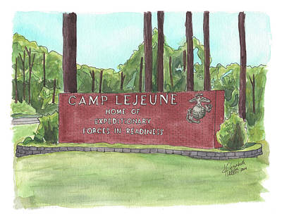 Poster featuring the painting Camp Lejeune Welcome by Betsy Hackett