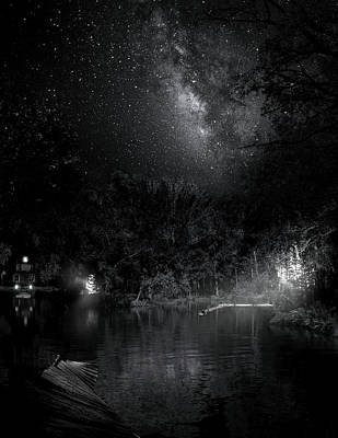 Poster featuring the photograph Campfires On Milky Way River by Mark Andrew Thomas