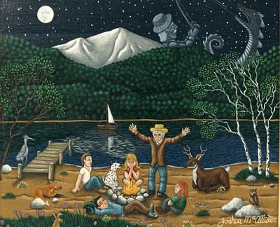 Camping Folklore On The Shores Of Lake Winnipisaukee Poster by Joshua Ma Allistar