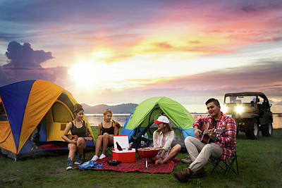 Camping Of Asian Man And Women Group Poster by Anek Suwannaphoom