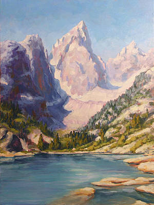 Can Almost Touch The Sky - Delta Lake, Tetons Poster by Rebecca Riel