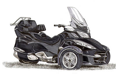 Poster featuring the painting Can-am Spyder Trike by Jack Pumphrey