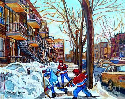 Canadian Art Street Hockey Game Verdun Montreal Memories Winter City Scene Paintings Carole Spandau Poster