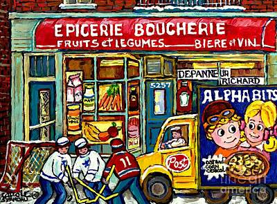Canadian Hockey Art Winter Scene Painting Depanneur Richard Verdun Delivery Truck Carole Spandau     Poster by Carole Spandau