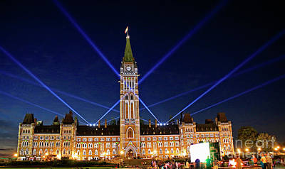 Canadian Parliament At Night Poster
