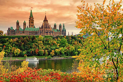 Canadian Parliament Hill In Autumn Poster