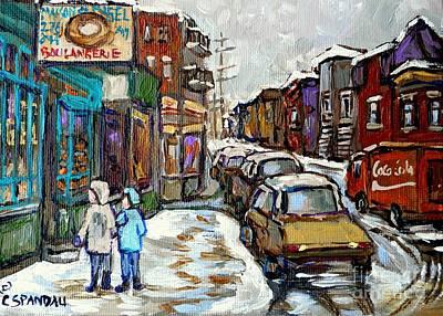 Canadian Winter Paintings Rue St Viateur Boulangerie Best Authentic Montreal Original Art Poster by Carole Spandau