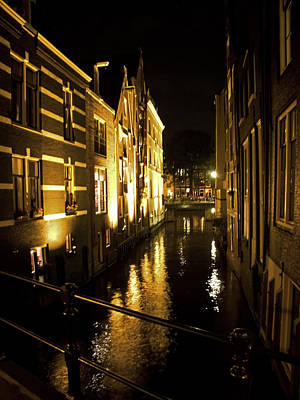 Canal At Night Poster by Ron Dubin