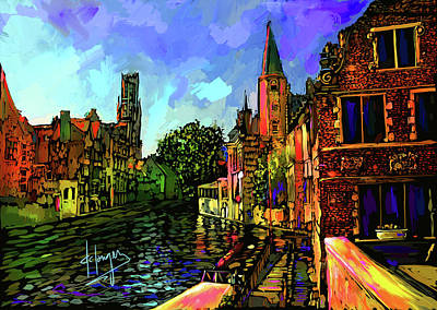 Canal In Bruges Poster by DC Langer