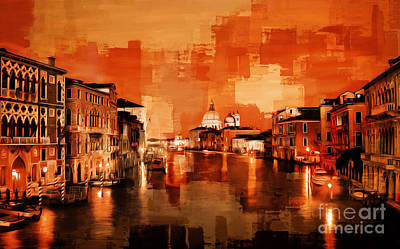 Canal View Of Venice City Poster by Gull G