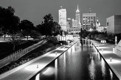 Canal Walk To The Downtown Indianapolis Skyline - Black And White Poster by Gregory Ballos