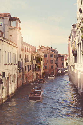 Canals Of Venice With Instagram Vintage Style Filter Poster by Brandon Bourdages