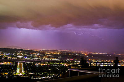 Poster featuring the photograph Canberra Lightning Storm by Angela DeFrias