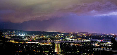 Poster featuring the photograph Canberra Stormy Night by Angela DeFrias