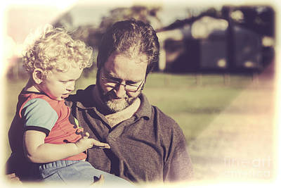 Candid Retro Father And Son Talking Poster