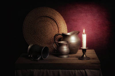 Candle Light Still Life Poster
