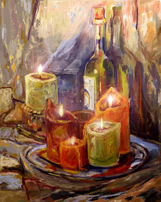 Candles And Wine Bottle Poster by Peggy Wilson