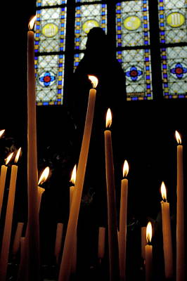 Candles Burning Inside The Basilica Of The Saint Sauveur Poster by Sami Sarkis