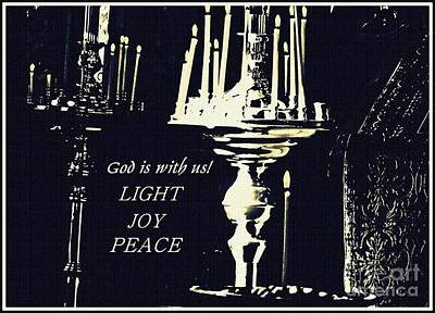 Candles In Church Card 3 Poster by Sarah Loft