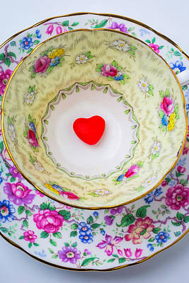 Candy Heart In Tea Cup Poster by Garry Gay