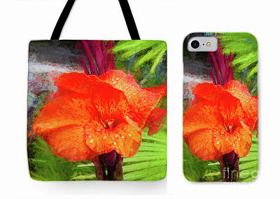 Canna Lily Red Bloom Tote Phone Case Set Poster by Mona Stut