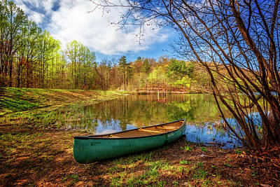 Canoe At Lakeside Poster by Debra and Dave Vanderlaan