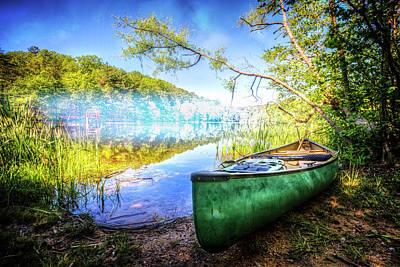 Canoe In Spring Poster