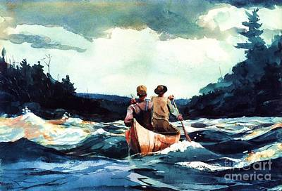 Canoe In The Rapids Poster by Pg Reproductions