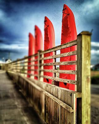 Canoes And Walkway, Surf City, North Carolina Poster by John Pagliuca