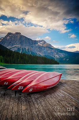 Canoes At Emerald Lake In Yoho National Park Poster