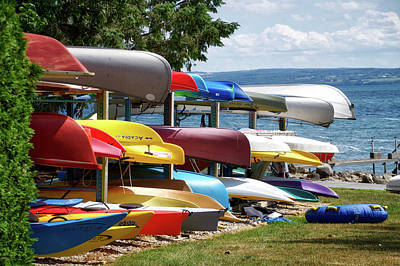 Canoes In Many Colors 02 Poster by Thomas Woolworth