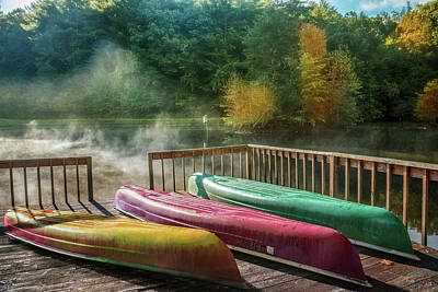 Canoes In The Sunshine Poster by Debra and Dave Vanderlaan