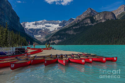 Canoes On Lake Louise Poster