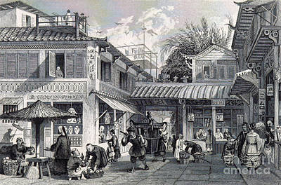 Canton Street Scene, 19th Century Poster by British Library