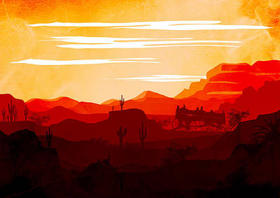 Abstract Landscape Ghost Town Art 2 - By Diana Van Poster by Diana Van