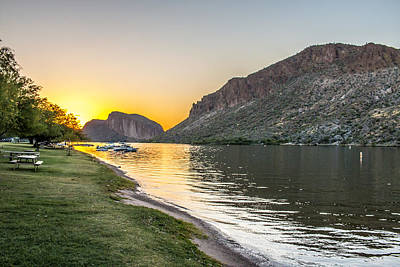 Canyon Lake Sunset Poster by Chuck Brown