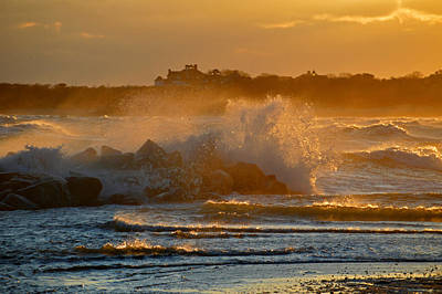 Cape Cod Bay - Heavy Surf - Sunrise Poster by Dianne Cowen