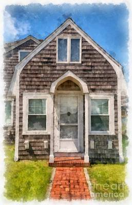Cape Cod Cottage Watercolor Poster by Edward Fielding