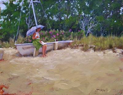 Poster featuring the painting Cape Cod Weekend by Laura Lee Zanghetti