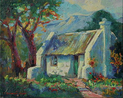 Cape Cottage With Mountains Art Bertram Poole Poster